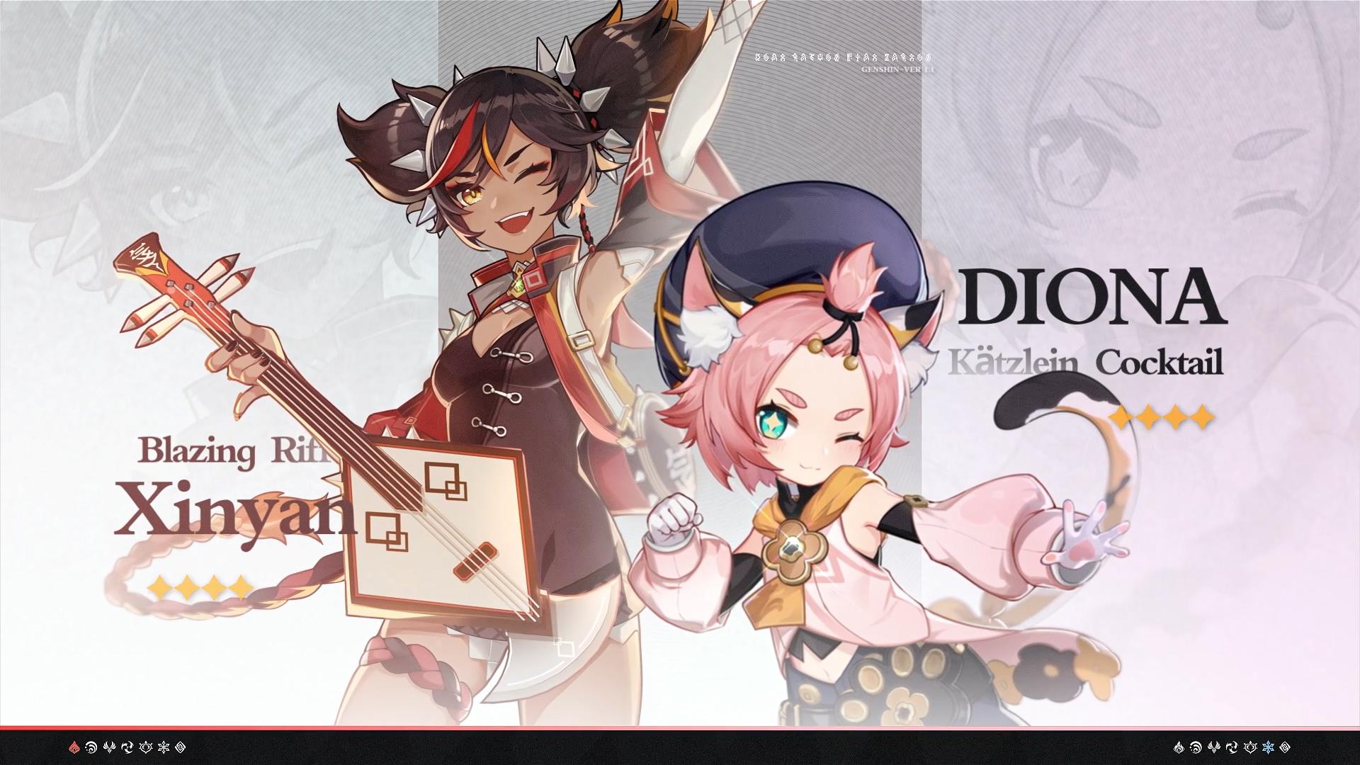 Genshin Impact Xinyan and Diona
