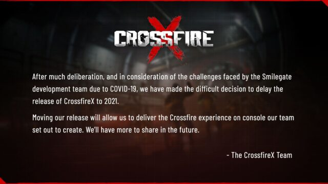 CrossfireX Delayed to 2021