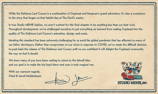 Cuphead DLC The Delicious Last Course Delayed to 2021