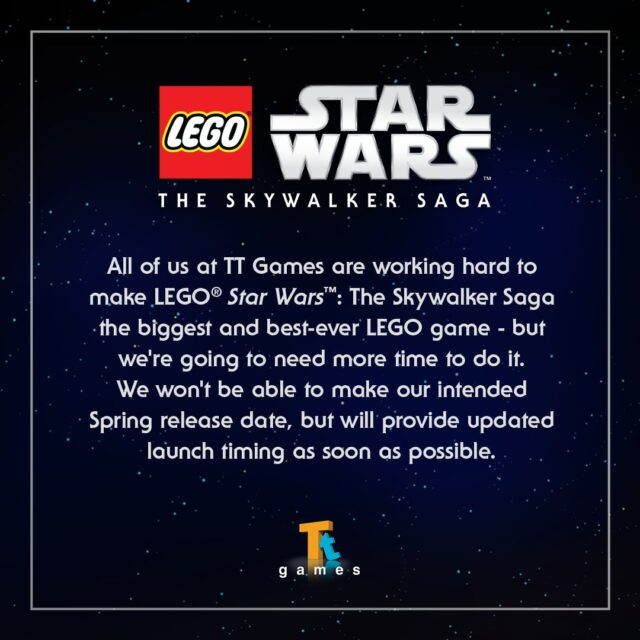 LEGO Star Wars The Skywalker Saga delayed beyond Spring 2021