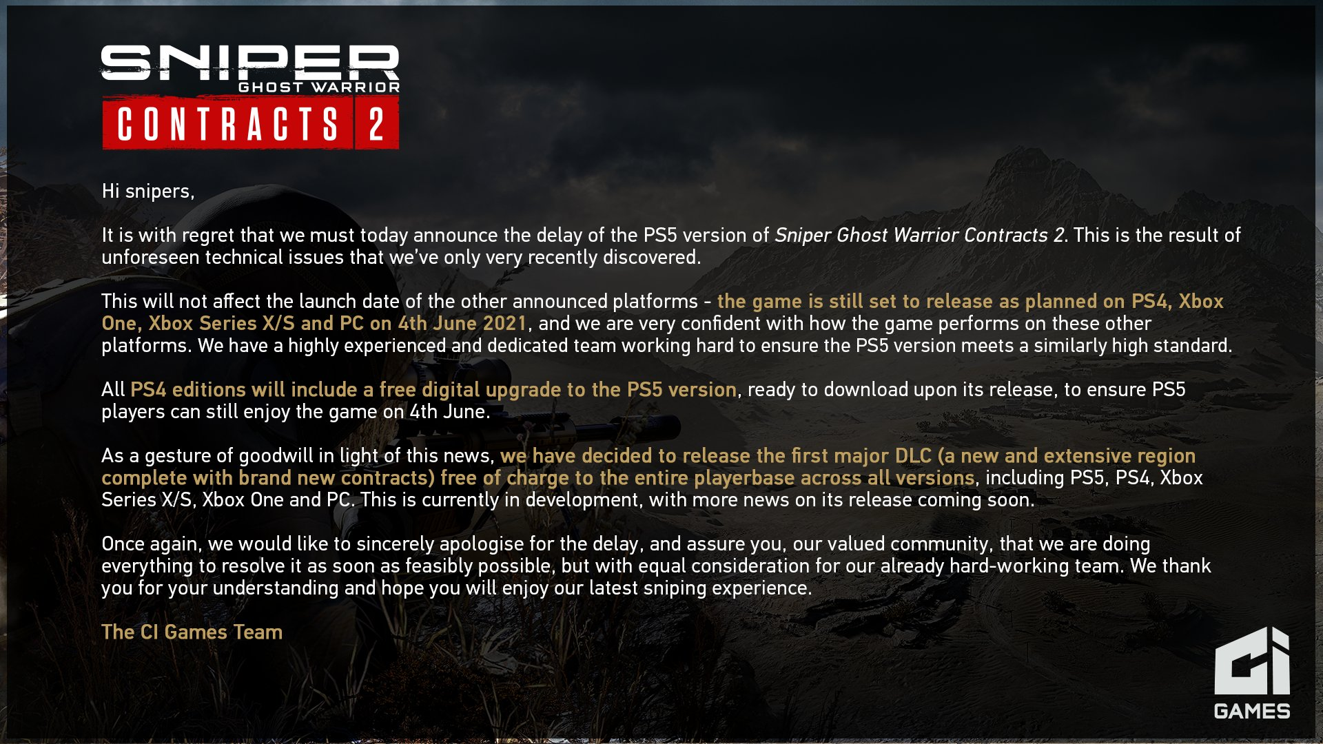 Sniper Ghost Warrior Contracts 2 for PS5 Delayed to Later in 2021