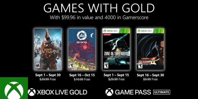 Xbox Games with Gold for September 2021 Lineup