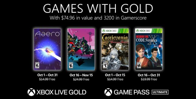 Xbox Games with Gold for October 2021 Lineup